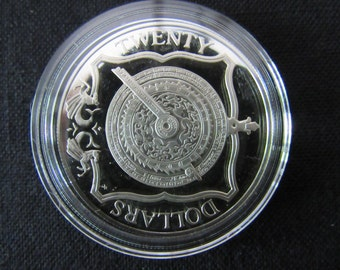 British Virgin Island Sterling Silver  Commemorative Twenty Dollar Proof Coin - Ships Compass
