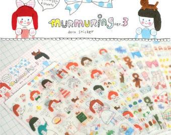 murmuring girl deco stickers set v.3 - graffiti girl sticker - 6 Sheets