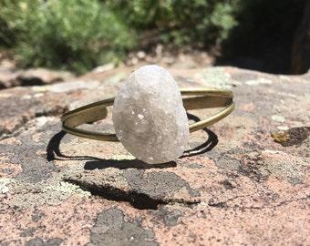 White Druzy Agate Cuff Bracelet