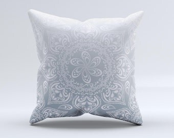 Intricate White and Gray Vector Pattern ink-Fuzed Decorative Throw Pillow