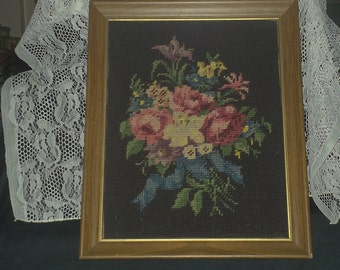 Needlepoint Flower Bouquet Picture
