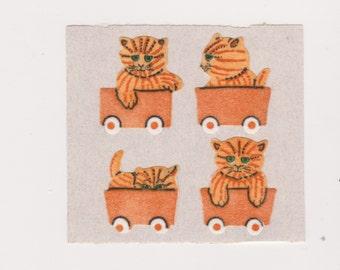 Vintage Fuzzy Yellow Tabby Kittens Sticker mod by StickerMagic