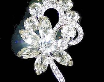 Gorgeous Signed EISENBERG ICE Rhinestone Flower Brooch/Pin
