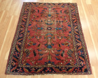 Antique Persian Oriental Rug 3' 10 x 4' 9 Dark Pink Magenta Lilihan