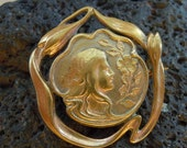 English Art Nouveau silver brooch goldplated Lady from 1910