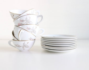Sango Pastoral Tea Set Of 16 / Vintage Teacups And Saucers / Fine China Holiday Thanksgiving Bridal Wedding Gifts For Her