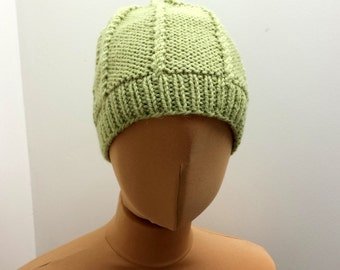 Hand Knitted Hat, Green Wool Beanie, Hipster Cap For Girl Or Woman, Pistachio Green Colour Slouch.
