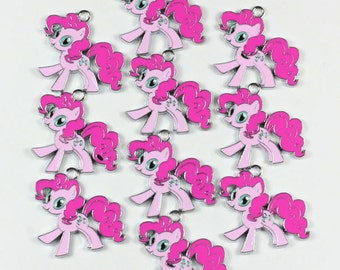 10PCS my little pony Enamel Metal Charms Pendants Jewelry Making Crafts Boys Girls Birthday Party Favors Gifts DIY