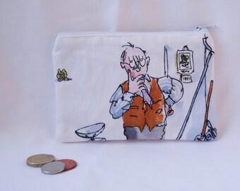 Esio Trot coin purse, Kids coin purse, Roald Dahl zippered purse, Quentin Blake zippered purse, Tortoise coin purse