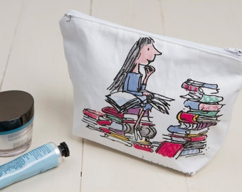 Matilda makeup bag, Matilda wash bag, Matilda cosmetic bag, Matilda makeup pouch, Matilda cosmetic pouch, Roald Dahl wash bag, Roald Dahl