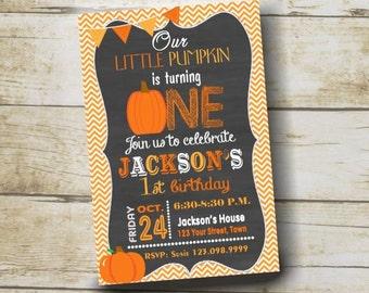 Lil Pumpkin Invitation, Our Little Pumpkin First Birthday Invitation, Pumpkin Invitation,  Birthday Party Invitation Digital 4x6 or 5x7