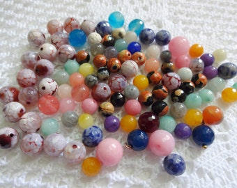 Gemstone Beads Agate  Round Ball Beads - Graduating Loose Beads/Mixed Beads