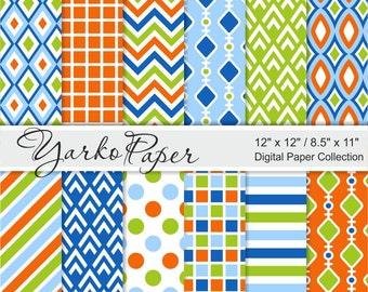 Blue Orange And Green Digital Paper Pack, Chevron, Polka Dot, Stripes, Geometric Paper, Digital Background, 12 Sheets - Instant Download
