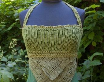 Summer Green Cotton Crochet Top :. Size S/M