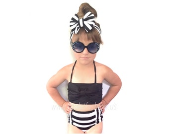 Retro Style Classic Black Bow Top & Striped Vintage High Waist Bikini! Kids Swimwear! Also available in Mommy and Me Matching Swimwear!