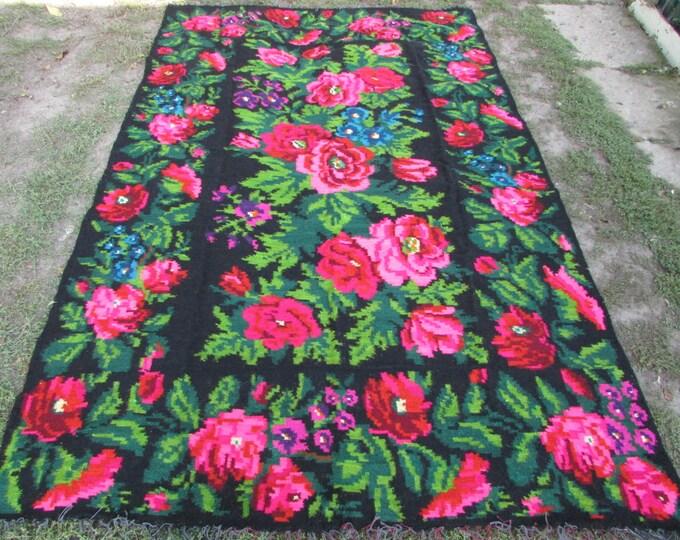 Bessarabian Kilim. Floor Rugs. Vintage Moldovan Kilim, Handmade 45 years old, handmade. Floral Rugs Carpets, Eco-Friendly. Bab.