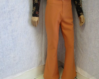"70s 33"" x 33"" Polyester Men's BELL BOTTOMS Pants Terra Cotta WeirdoWear"