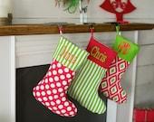 Choose Your Pattern~ Personalized, Embroidered Stocking, Polka dot stocking, Striped stocking, Chevron stocking, Monogram stocking