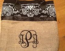 Burlap Bandana Purse/Market Bag/Tote with  Free Monogram