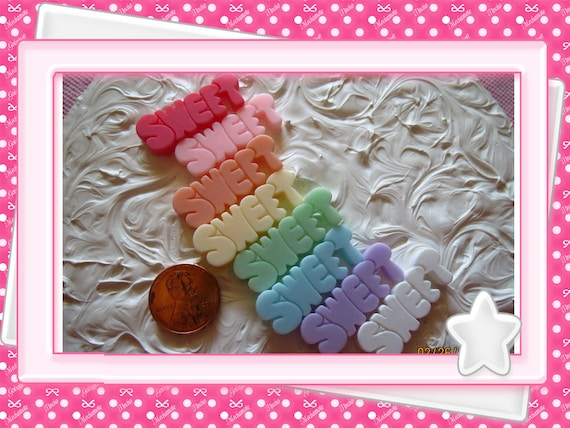 0: )- CABOCHON -( Rainbow SWEET word letter