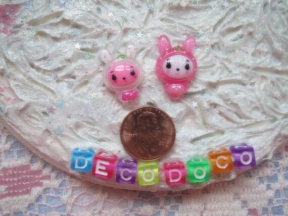 0: )- CABOCHON -( Rainbow Bunny Rabbits