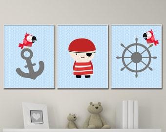 Baby Boy Nursery Art Print, Pirate Wall Art Prints, Anchor Nursery Prints, Baby Boy Nursery Wall Art Print and Bedroom Decor H164