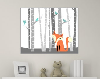 Fox Nursery Art Print, Nursery Art Print, Fox Art Print, Baby Girl or Boy Nursery Wall Decor Print-Custom Color - H272- Unframed