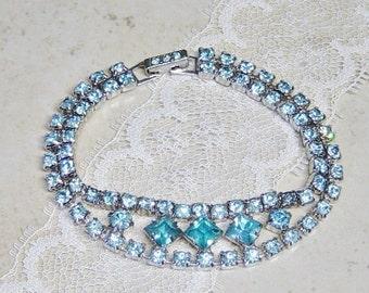 Blue Rhinestone Silver Bracelet, 1950's