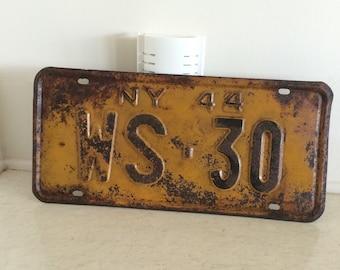 Vintage 1944 New York License Plate