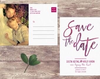 Watercolor Save The Date Postcard, Postcard Save the Date, Photograph Save the Date, Custom Personalized, Engagement Announcement Card