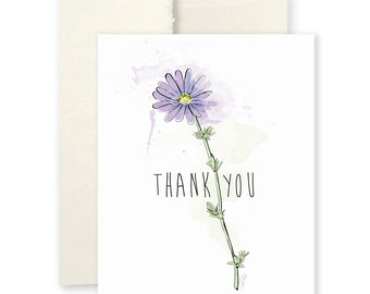 Thank You Daisy - Greeting Card, Flower Illustration, Thank You Card, Painted Card