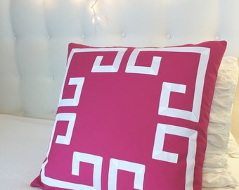 Pink Greek Key Pillow Cover-Pink Pillow- Pink Bedding- Bedding-Pink Accent Pillows-Girls Bedding
