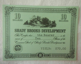 Vintage Stocks & Bonds Board Game Replacement Piece 3M Bookshelf 1964 Certificate Title Card Erase Craft Decoupage Economic Investment Class