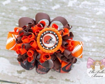 Cleveland Browns Funky Loopy Bow~ cleveland browns hairbow