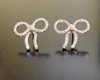 Rose Gold Earrings - 18K Rose Gold Diamond Earrings - Diamond Ribbon Earrings - Rose Gold Ribbon Stud Earrings - 18K Diamond Earrings