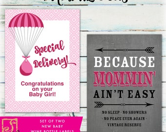 New Baby Wine Bottle Labels - DIY New Baby Wine Labels