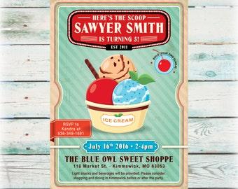 Printable Ice Cream Sundae Birthday Invitation - Digital File