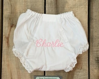 White monogrammed eyelet lace diaper cover bloomers panty baptism christening baby shower new baby girl dressy wedding church baptisim