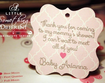 Pink Quatrefoil Baby Shower Favor Tags / Pink Quatrefoil Welcome Baby Tags / Pink Trellis Baby Shower Tags /