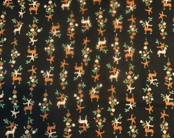 1950s Fall Halloween Novelty Print Black Cotton Fabric 4 Yards Horse Scarecrow Clown Leaves Floral Print Fabric