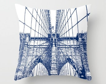 Brooklyn Bridge, Pillow Cover,6 sizes,home decor,blue,modern,Urban Decor,New York City,Accent Pillow,Decorative Pillow,Travel Decor, Dorm