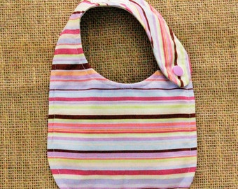 Pink and Purple Striped Cloth Baby Bib