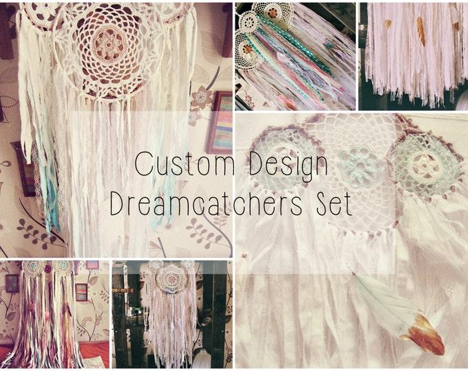Three Dreamcatchers Set - Boho Wall Decor - Custom Design - Bohemian Gypsy Bedroom Decor - Wall Hanging Dream Catcher - Wedding Decoration
