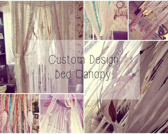 Custom Design Bed Canopy - Boho Nursery Decor - Bed Crown - Crib Canopy - Bohemian Bedroom - Baby Shower Decor - Bed Tent - Newborn Gift