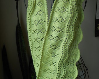 Hand Made Light Green Lace and Beaded Cowl knit with Wool Yarn