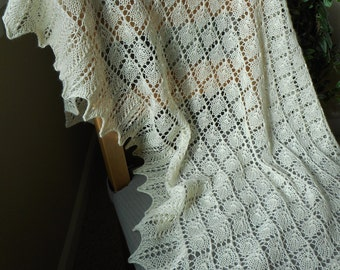 Ivory White Lace Knit Shawl with Wool and Silk Yarn accented with glass beads