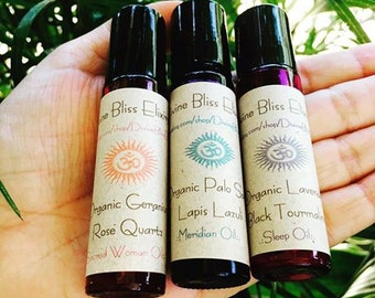 ॐ HEALING Oils /\ Lapis Lazuli Palo Santo/\Rose Quartz Geranium/\BlackTourmaline Lavender .:. VEGAN Gluten Free Non GMO