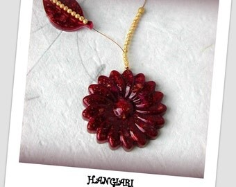 Chic necklace, big flower resin, gilded mounting H.ANGIARI: Creative designer