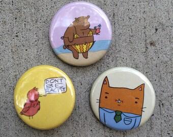 Cartoon Pin Buttons
