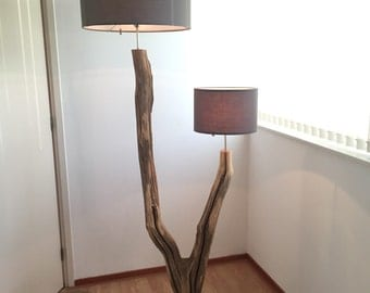 Double Floor Lamp of weathered old wooden oak branch